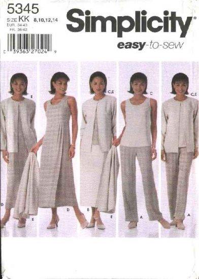 Simplicity Sewing Pattern 5345 Misses Size 8-14 Easy Wardrobe Pants Skirt Top  Dress Jumper Jacket