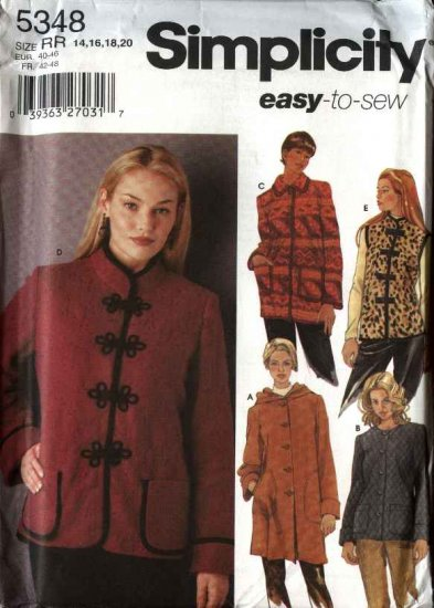 Simplicity Sewing Pattern 5348 Misses Size 14-16-18-20 Easy Hooded Coat Jacket Vest