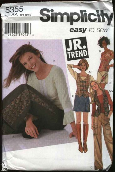 Simplicity Sewing Pattern 5355 Junior Sizes 3/4-9/10 Easy Wardrobe Pants Mini Skirt Vest Knit Top