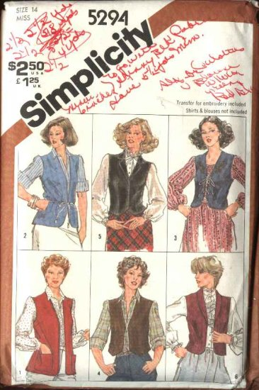 Retro Simplicity Sewing Pattern 5294 Misses Size 14 Lined Unlined Embroidered Vests