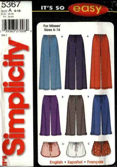 Simplicity Sewing Pattern 5367 Misses Size 6-16 Easy Long Cropped Pants Capri Shorts