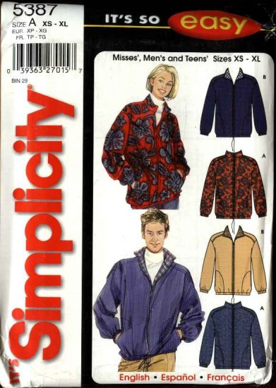 """Simplicity Sewing Pattern 5387 Misses Mens Unisex Chest Size 30 - 48"""" Zipper Front Jackets"""
