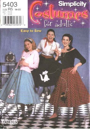 Simplicity Sewing Pattern 5403 Misses Size 6-8-10-12 Easy Circle Poodle Skirts Costumes