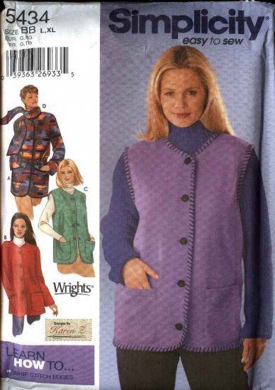 Simplicity Sewing Pattern 5434 Misses Size 6-16 Easy Fleece Button Front Jacket Vest Scarf