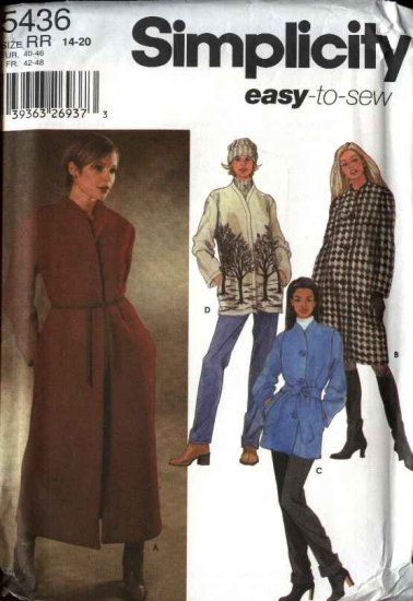 Simplicity Sewing Pattern 5436 Misses Size 14-20 Easy Lined Unlined Wrap Button Front Coat Jacket