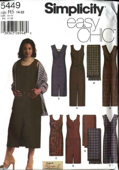 Simplicity Sewing Pattern 5449 Misses  Size 14-22 Easy Straight Jumper Belt Shawl
