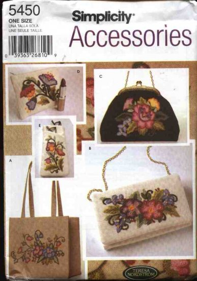 Simplicity Sewing Pattern 5450 Teresa Nordstrom Crewel Embroidery  Purse Tote Wallet Evening Bag