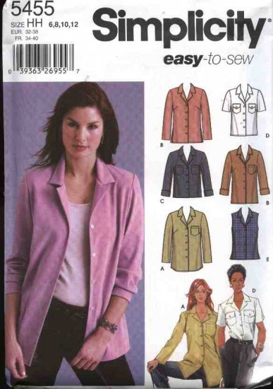 Simplicity Sewing Pattern 5455 Misses Size 6-12 Easy Classic Long Short Sleeve Sleeveless Shirts