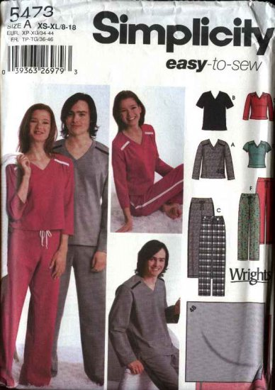 "Simplicity Sewing Pattern 5473 Mens Chest Size 30-48"" Misses Size 8-18 Pajamas Top Pants Blanket"