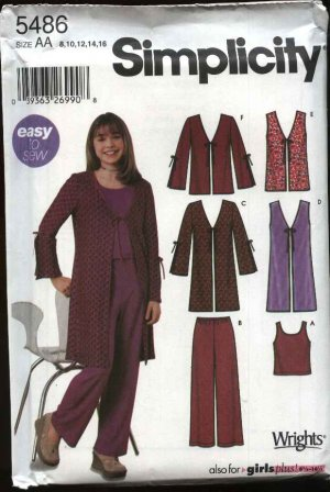 Simplicity Sewing Pattern 5486 Girls Size 8-16 Easy Pants Top Shell Vest Jacket