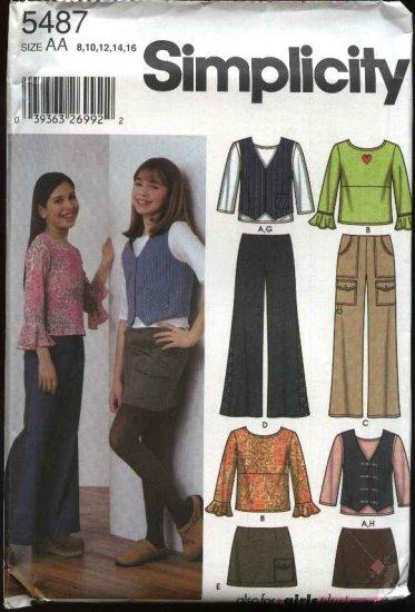 Simplicity Sewing Pattern 5487 Girls Plus Size 8 ½ - 16 ½ Wardrobe Top Pants Vest Mini-Skirt