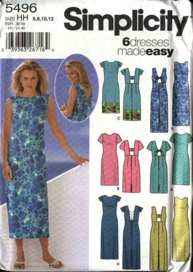 Simplicity Sewing Pattern 5496 Misses Size 6-12 Easy Summer Short Long Dresses Sundress