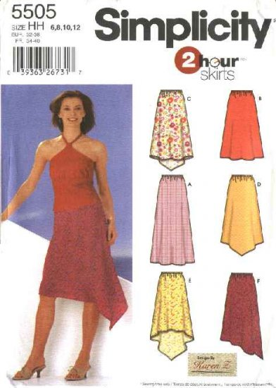 Simplicity Sewing Pattern 5505 Misses Size 6-12 2 Hour Easy Pull-On Long Short Asymmetrical Skirts