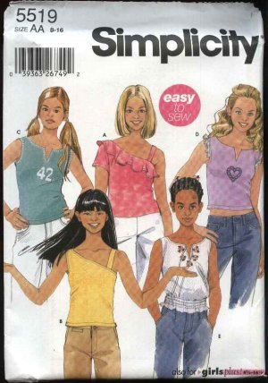 Simplicity Sewing Pattern 5519 Girls Plus Size 8 ½ -16 ½ Easy Summer Knit Sleeveless Tops