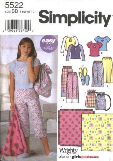 Simplicity Sewing Pattern 5522 Girls Size 8-16 Easy Pajamas Pants Knit Top Bag Slippers Blanket