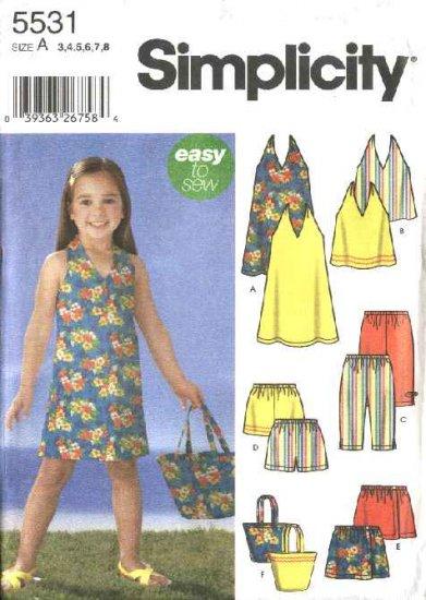 Simplicity Sewing Pattern 5531 Girls Size 3-8 Easy Wardrobe Halter Top Dress Pants Skort Shorts Bag
