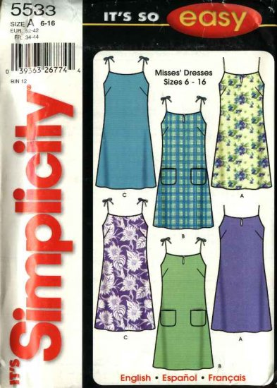 Simplicity Sewing Pattern 5533 Misses Size 6-16 Easy Sun Dresses Summer Dress
