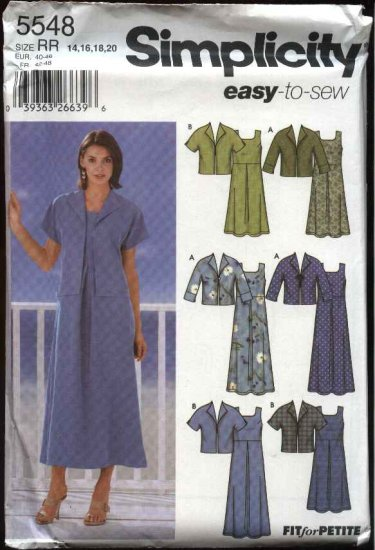 Simplicity Sewing Pattern 5548 Misses Size 14-16-18-20 Easy Empire Waist Pullover Dress Jacket