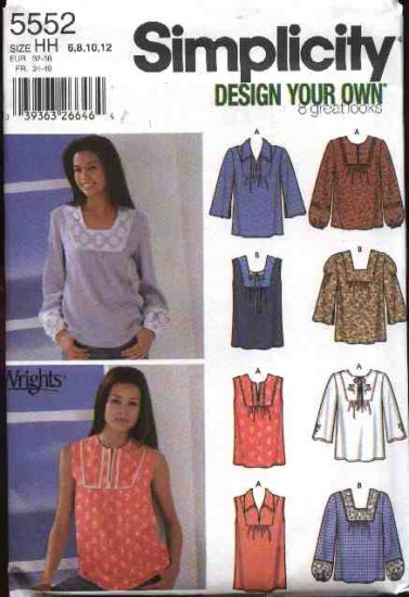 Simplicity Sewing Pattern 5552 Misses Size 6-12 Peasant Pullover Long Sleeve Sleeveless Tops Boho