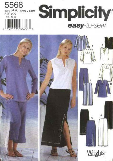 Simplicity Sewing Pattern 5568 Womans Plus Size 20W-28W Easy Wardrobe Pants Skirt Tunic Top