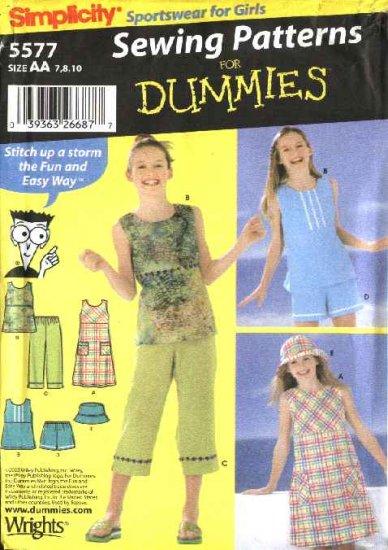 Simplicity Sewing Pattern 5577 Girls Size 7-8-10 Easy Wardrobe Dress Top Pants Shorts Hat