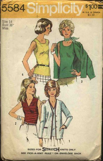 Retro Simplicity Sewing Pattern 5584 Misses Size 14 Knit Top Cardigan Twin Set