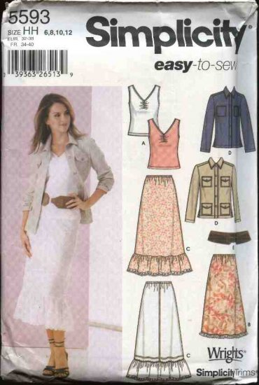 Simplicity Sewing Pattern 5593 Misses Size 14-22 Easy Wardrobe Skirts Jacket Knit Tank Top Belt