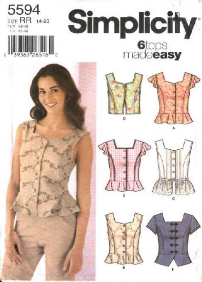 Simplicity Sewing Pattern 5594 Misses Size 6-12 Easy Button Front Summer Top Blouse Vest