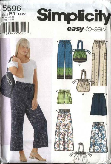 Simplicity Sewing Pattern 5596 Misses Size 6-12 Easy Drawstring Pants Skirts Bag Shorts