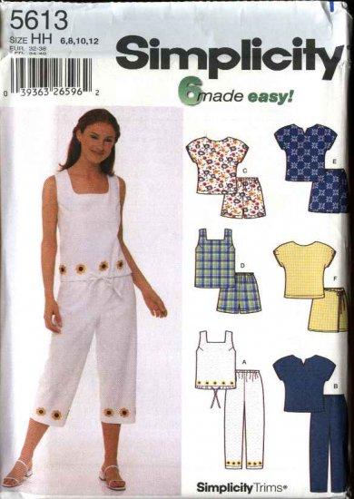 Simplicity Sewing Pattern 5613 Misses Size 6-12 Easy Summer Wardrobe Tops Pants Shorts Skorts
