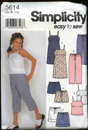 Simplicity Sewing Pattern 5614 Girls Size 7-16 Easy Summer Wardrobe Dress Pants Shorts Skirt Top