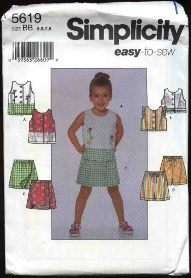 Simplicity Sewing Pattern 5619 8723 7137 Girls Size 5-8 Sleeveless Summer Top Skorts Shorts