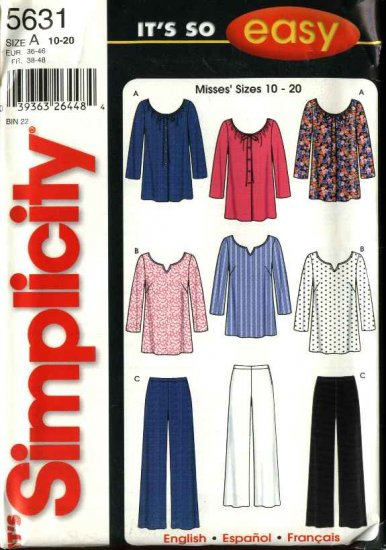 Simplicity Sewing Pattern 5631 Misses Size 10-20 Easy Loose Fitting Tops Fitted  Pants