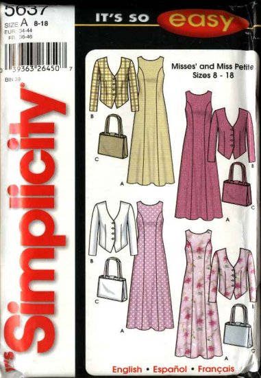 Simplicity Sewing Pattern 5637 Misses Size 8-18 Easy Sleeveless Dress Long Sleeve Jacket  Purse