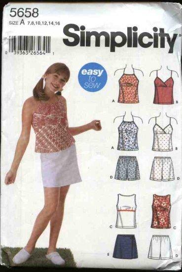 Simplicity Sewing Pattern 5658 Girls Size 7-16 Easy Summer Halter Sleeveless Tops Shorts Skorts