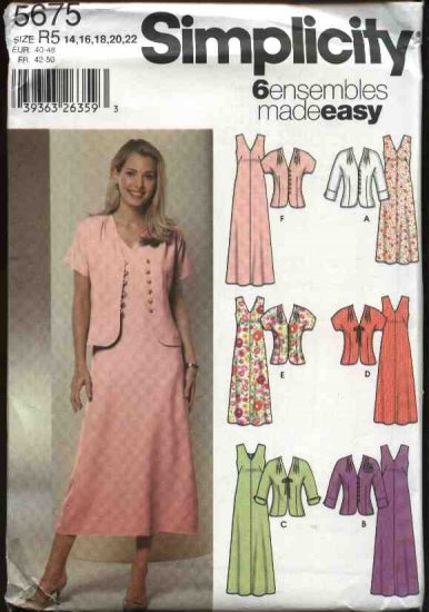 Simplicity Sewing Pattern 5675 Misses Size 14-22 Easy A-Line Sleeveless Dress Jacket