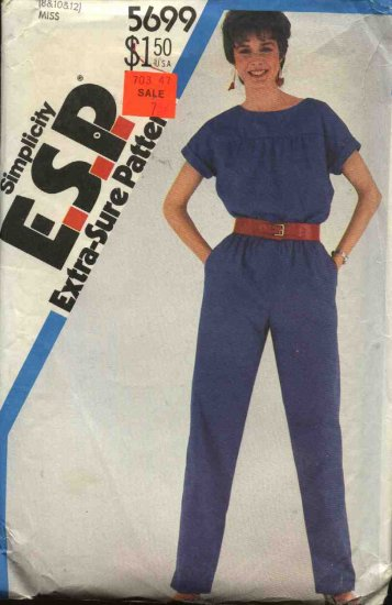 Retro Simplicity Sewing Pattern 5699 Misses Size 8-10-12  Short Sleeved Jumpsuit