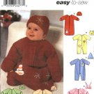 Simplicity Sewing Pattern 5720 Baby Infant Size NB-6m Appliqued Embroidered Bunting Romper Hats
