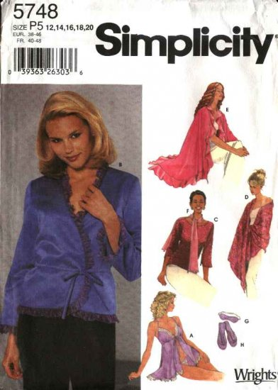 Simplicity Sewing Pattern 5748 Misses Size 4-10 Camisole Panties Top Bed Jacket Shawl Slippers
