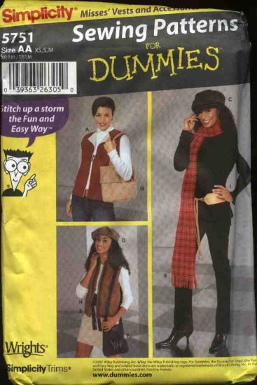 Simplicity Sewing Pattern 5751 Misses Size 6-16 Easy Vests Hats Scarf Bags Purse Belt