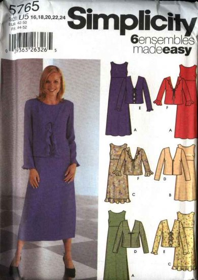 Simplicity Sewing Pattern 5765 Misses Size 8-14 Easy Pullover Empire Dress Jacket Ensembles