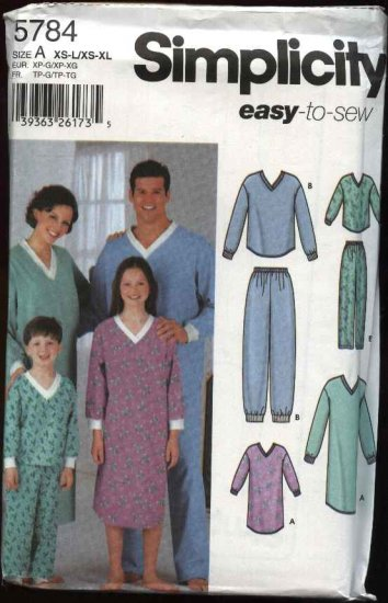 Simplicity Sewing Pattern 5784 Misses Mens Boys Girls Pajamas Nightgown Pants Top Nightshirt