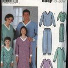 Simplicity Sewing Pattern 5784 Misses Mens Boys Girls Pajamas Nightgown Pants Top Nightshirt