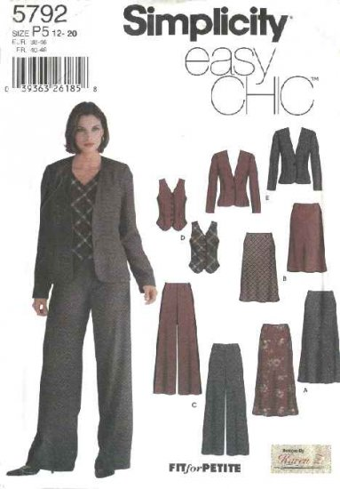 Simplicity Sewing Pattern 5792 Misses Size 4-10 Easy Wardrobe Bias Skirts Jacket Pants Vest