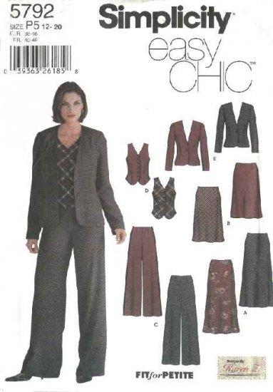 Simplicity Sewing Pattern 5792 Misses Size 12-20 Easy Wardrobe Bias Skirts Jacket Pants Vest