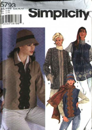 Simplicity Sewing Pattern 5793 Misses Size 6-12 Jacket Vest Hat Scarf