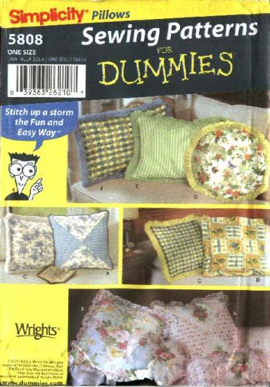 Simplicity Sewing Pattern 5808 Easy Pillows Cushions Home Decoration