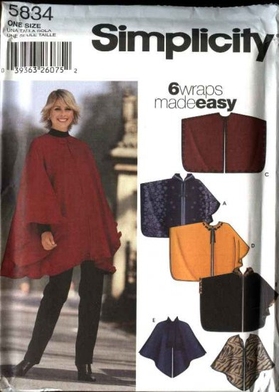 Simplicity Sewing Pattern 5834 5405 Misses� All Sizes  Easy  Wraps Hooded Ponchos