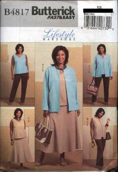 Butterick Sewing Pattern 4817 Womans Plus Size 18W-24W Easy Wardrobe Jacket Vest Top Skirt Pants