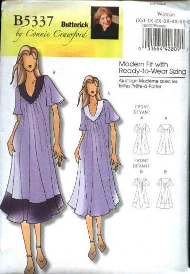 Butterick Sewing Pattern 5337 Womens Plus Size 18W-44W Easy Loose Fitting Dress Negligee